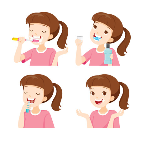 cleaning teeth: Girl Cleaning Teeth Set, Medical, Dentistry, Hospital, Checkup, Patient, Hygiene, Healthy, Treatment