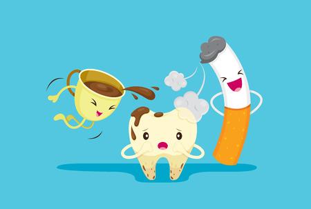Rotte tand Probleem met rook en koffie, Medisch, Tandarts, Ziekenhuis, Controle, Patiënt, hygiëne, gezond, behandeling Stockfoto - 60339403