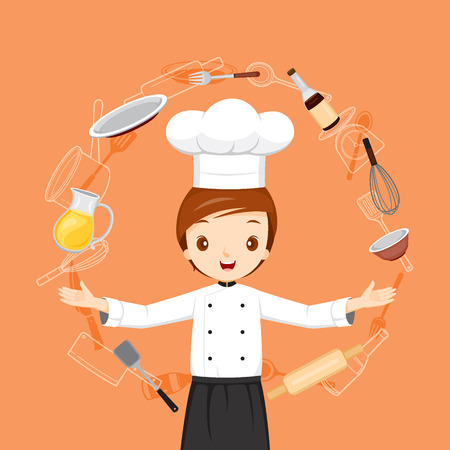 Chef With Kitchen Appliances Objects And Icons, Crockery, Cooking, Cuisine, Food, Bakery