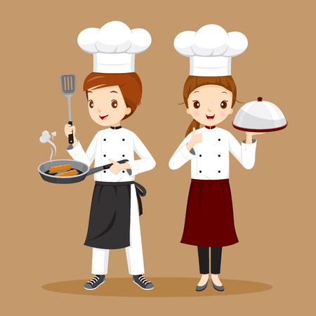professional occupation: Professional Chefs With Foods In Hands, Occupation, Cuisine, Menu, Kitchen, Crockery, Cookery, Bakery Illustration