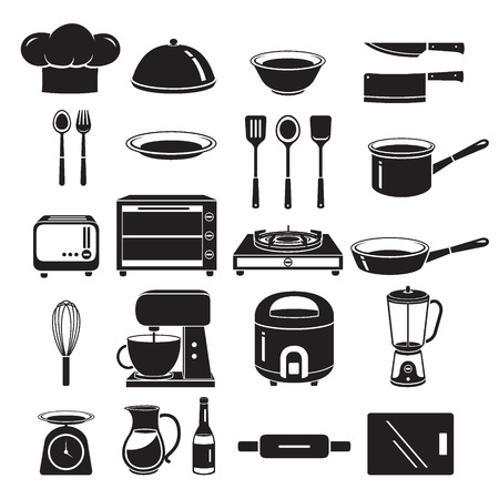 kitchen equipment: Kitchen Equipment Icons Set, Monochrome, Appliance, Crockery, Cooking, Cuisine, Food, Bakery