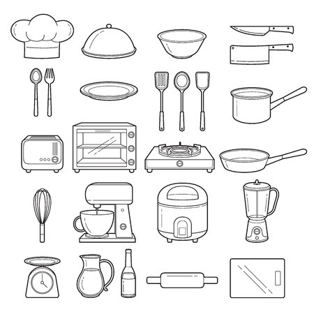 crockery: Kitchen Equipment Outline Icons Set, Appliance, Crockery, Cooking, Cuisine, Food, Bakery