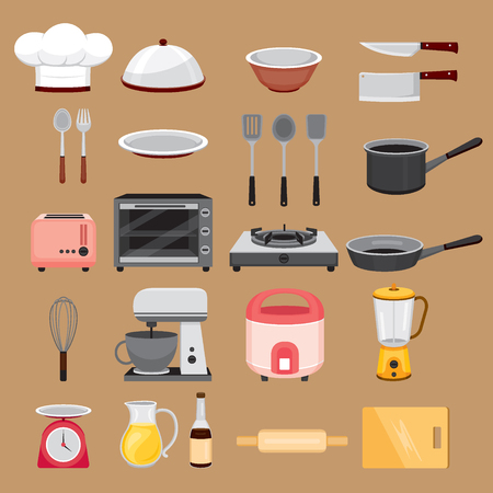 crockery: Kitchen Equipment Icons Set, Appliance, Crockery, Cooking, Cuisine, Food, Bakery Illustration