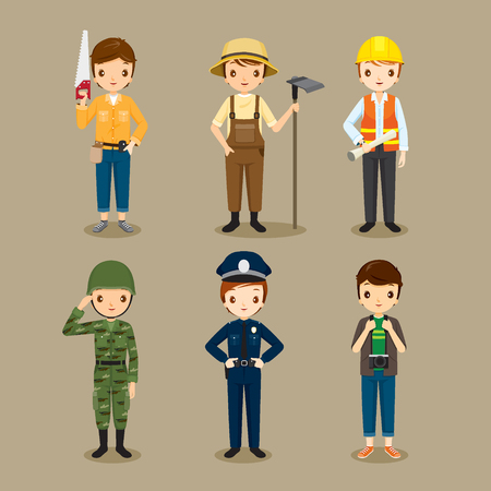 solider: Man, People With Different Occupations Set, Profession, Avatar, Worker, Job, Duty