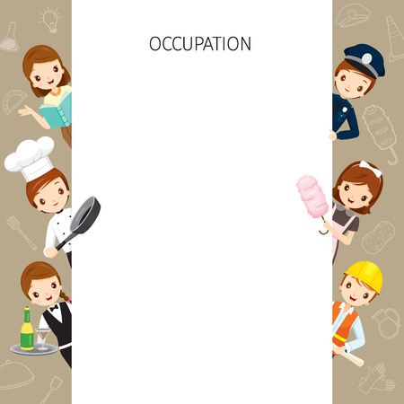 profession: People With Different Occupations Set On Frame, Profession, Avatar, Worker, Job, Duty