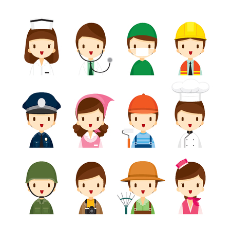 solider: People Occupations Icons Set, Profession, Avatar, Worker, Job, Duty