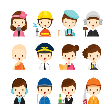 kid illustration: People Occupations Icons Set, Profession, Avatar, Worker, Job, Duty