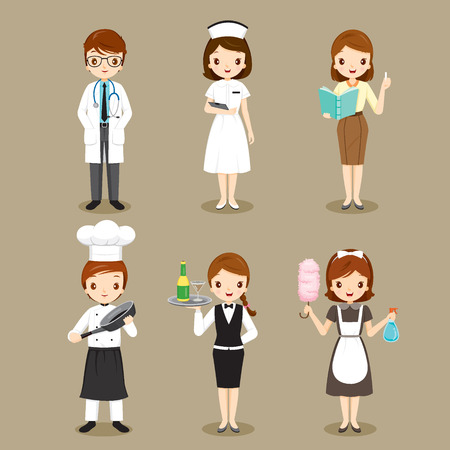 People With Different Occupations Set, Profession, Avatar, Worker, Job, Duty Vectores