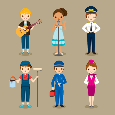 cabin attendant: People With Different Occupations Set, Profession, Avatar, Worker, Job, Duty Illustration
