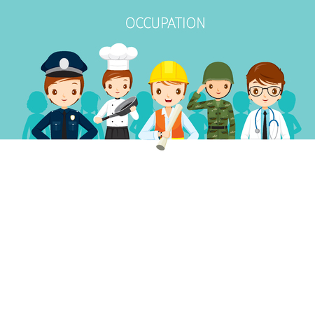 solider: Man, People With Different Occupations Set On Banner, Profession, Avatar, Worker, Job, Duty Illustration