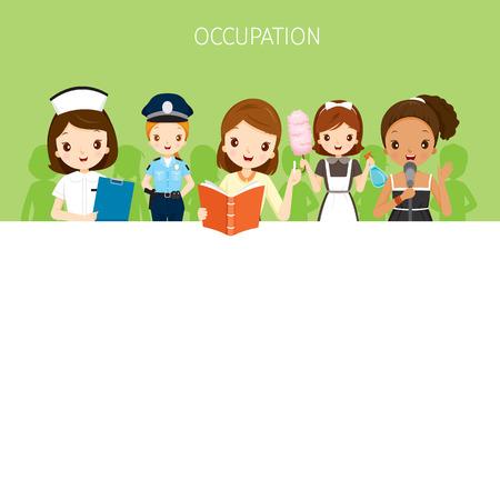 profesiones: Mujer, personas con diferentes ocupaciones fijaron en banner, profesión, Avatar, trabajador, Deber