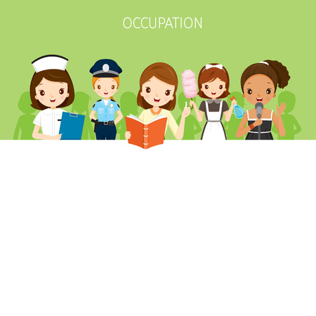 profession: Woman, People With Different Occupations Set On Banner, Profession, Avatar, Worker, Job, Duty