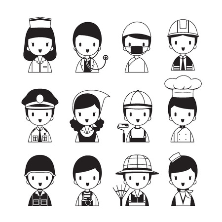solider: People Occupations Icons Set, Monochrome, Profession, Avatar, Worker, Job, Duty