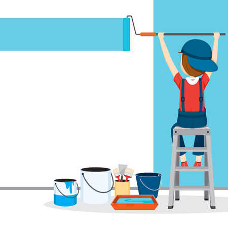 Painter Coloring Wall By paint roller, People Occupations, Profession, Worker, Job, Duty Illustration