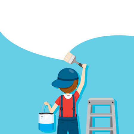 Painter Coloring Wall By Paintbrush, People Occupations, Profession, Worker, Job, Duty Illustration