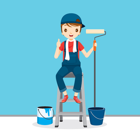 profession: Painter On Ladder Front Of Wall, People Occupations, Profession, Worker, Job, Duty Illustration