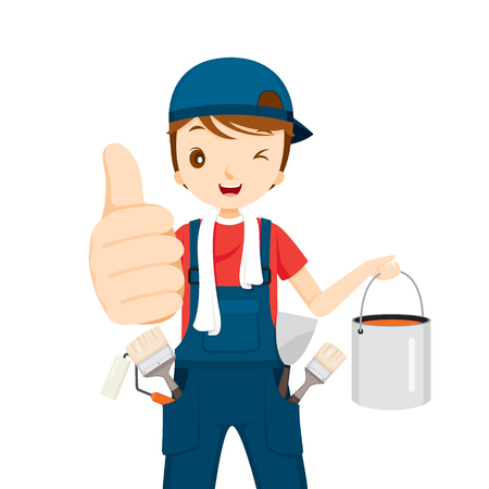 thumbsup: Painter Thumbs-Up With Color Bucket And Tools, People Occupations, Profession, Worker, Job, Duty Illustration