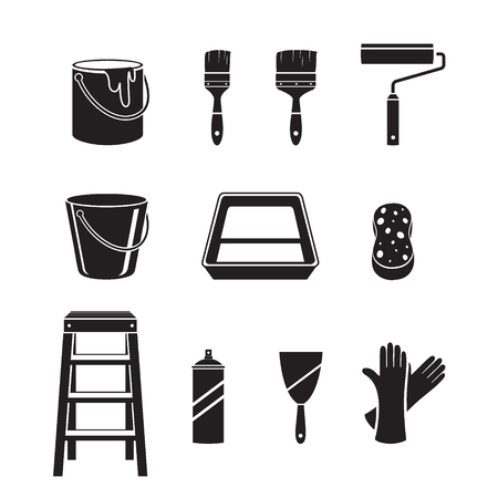objects equipment: Painter Tools Objects Icons Set, Monochrome , Equipment, Profession, Occupation, Worker, Job, Duty Illustration