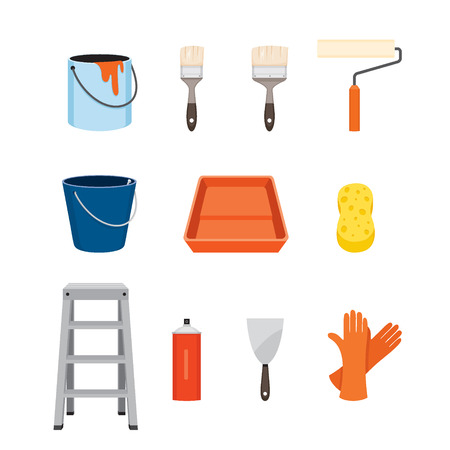 objects equipment: Painter Tools Objects Icons Set, Equipment, Profession, Occupation, Worker, Job, Duty Illustration