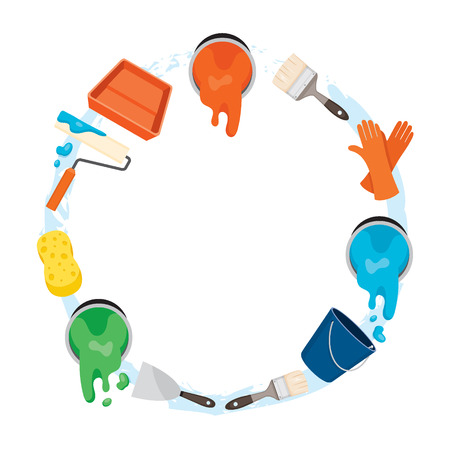 circle objects: Painter Tools Objects Icons Set On Circle Frame, Equipment, Profession, Occupation, Worker, Job, Duty