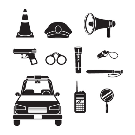 police radio: Police Icons Set, Monochrome, Profession, Occupations, Patrol, Worker, Security, Duty