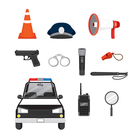 Police Icons Set, Profession, Occupations, Patrol, Worker, Security, Duty