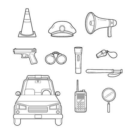 a patrol: Police Outline Icons Set, Profession, Occupations, Patrol, Worker, Security, Duty