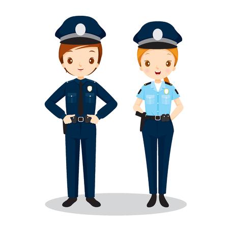 femme policier: Policier Et Policewoman, Profession, Professions, Patrol, travailleur, sécurité, Duty