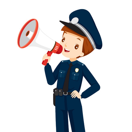 patrol: Policeman With Megaphone Announcement, Events, Ad, Announcer, Voice, Profession, Patrol, Security, Duty