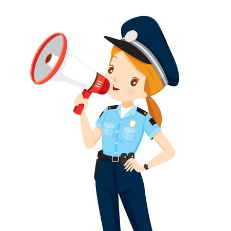 mujer policia: Mujer policía con el anuncio del megáfono, Eventos, Anuncio, Locutor, voz, profesión, Patrulla, Seguridad, Deber Vectores