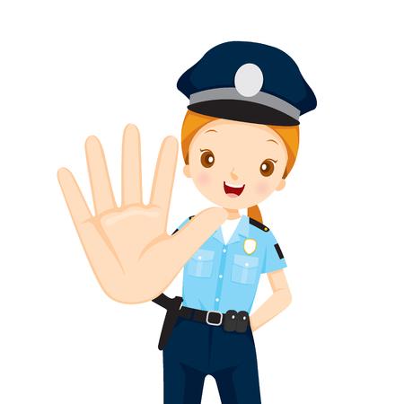 femme policier: Policewoman Raise Hand To Stop, Profession, Professions, Patrol, travailleur, sécurité, Duty Illustration