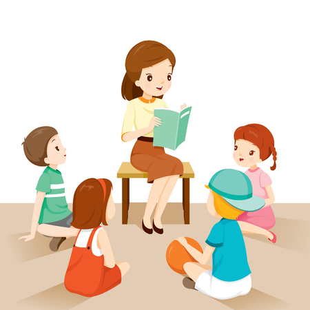 Woman Teachers Telling Story To Students, Occupation, Profession, Back to school, Book, Children, School Supplies