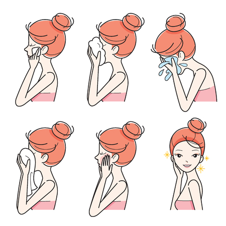 woman washing face: Side View Of Girl Cleaning And Care Her Face Set, Facial, Treatment, Beauty, Cosmetic, Makeup, Healthy, Lifestyle