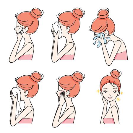 pulizia viso: Vista laterale della ragazza pulizia e la cura Her Face Set, facciale, trattamento, bellezza, estetica, trucco, stile di vita sano Vettoriali