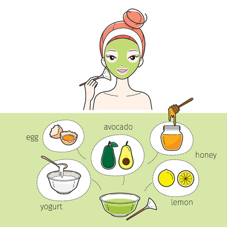 pimple: Young Woman With Natural Facial Mask, Treatment, Beauty, Cosmetic, Makeup, Healthy, Lifestyle