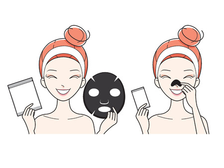 healthy woman: Young Woman With Facial, Nose Mask Sheet, Treatment, Beauty, Cosmetic, Makeup, Healthy, Lifestyle Illustration