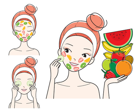 facial mask: Young Woman With Fruits Facial Mask On Her Face, Treatment, Beauty, Cosmetic, Makeup, Healthy, Lifestyle