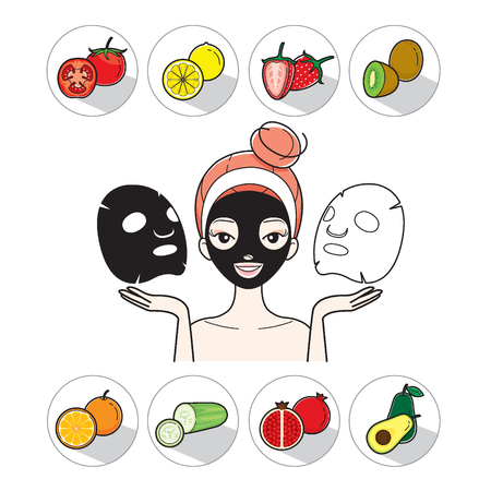 facial mask: Young Woman With Facial Mask And Fruit Icons, Treatment, Beauty, Cosmetic, Makeup, Healthy, Lifestyle