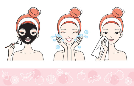 facial mask: Young Woman With Facial Mask Step, Treatment, Beauty, Cosmetic, Makeup, Healthy, Lifestyle