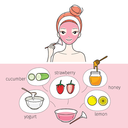 scrubs: Young Woman With Natural Facial Mask, Treatment, Beauty, Cosmetic, Makeup, Healthy, Lifestyle