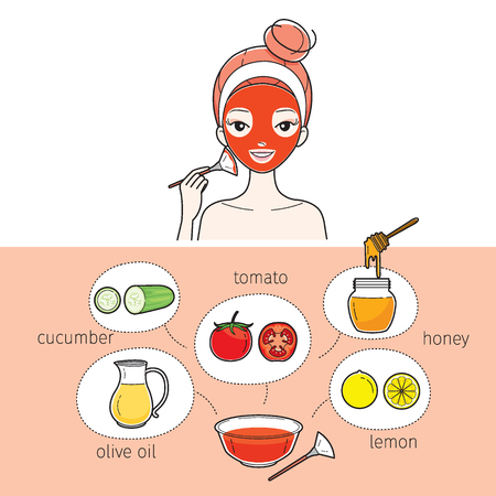 facial mask: Young Woman With Natural Facial Mask, Treatment, Beauty, Cosmetic, Makeup, Healthy, Lifestyle