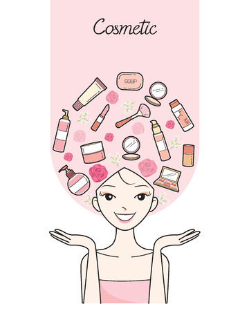 woman accessories: Young Woman With Cosmetics And Beauty Icons On Head, Accessories, Equipment, Makeup, Shopping, Outline
