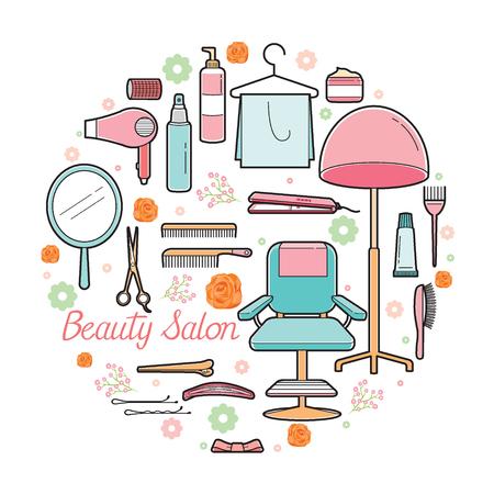 Hair Salon Equipments Set, Accessories, Equipment, Hairdressing, Shopping, Outline
