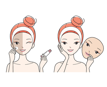 Young Woman Care Face, Bad To Good Color Face Skin, Facial, Treatment, Beauty, Cosmetic, Makeup, Healthy, Lifestyle