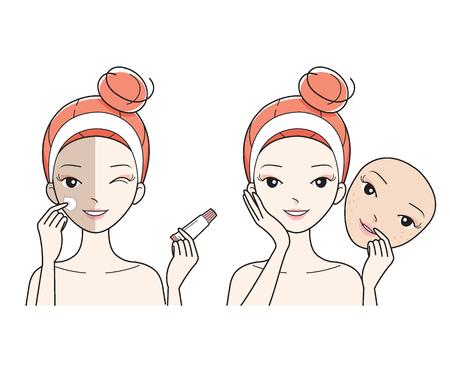pulizia viso: Fronte della giovane donna di cura, male al bene di colore della pelle del fronte, facciale, trattamento, bellezza, estetica, trucco, stile di vita sano Vettoriali