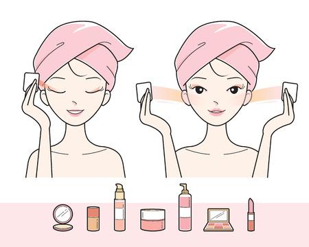 若い女性清掃化粧彼女の顔、顔、治療、美容、化粧品、健康、ライフ スタイル