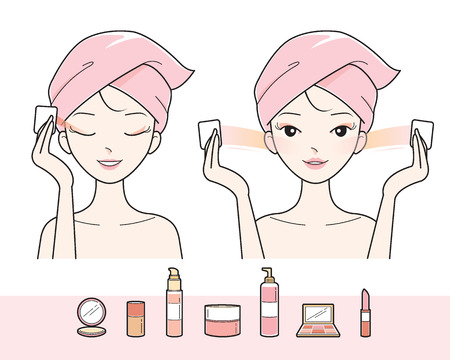 pulizia viso: Giovane donna di pulizia il trucco sul viso, facciale, trattamento, bellezza, estetica, stile di vita sano Vettoriali