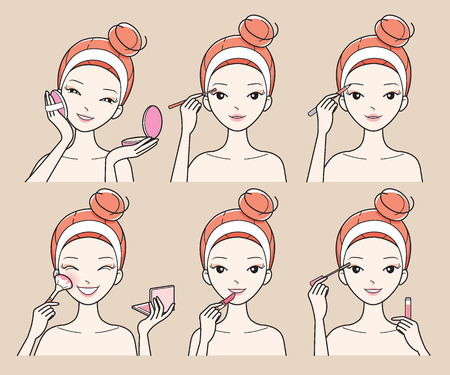 様々 なアクションを若い女性に設定すると、顔面治療、美容、化粧品、メイク、健康、ライフ スタイル  イラスト・ベクター素材