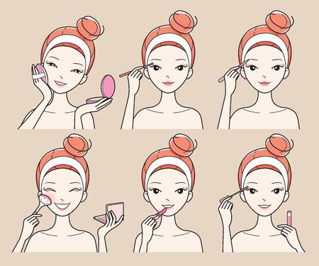 De jonge vrouw maakt omhoog met verschillende acties Set, Facial, behandeling, Beauty, Cosmetic, make-up, gezonde, Lifestyle Stockfoto - 61980118