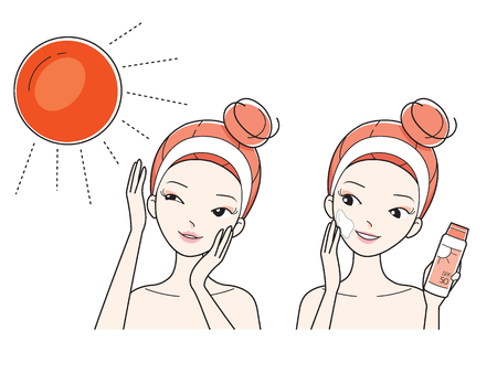 skin care woman: Young Woman Protect And Care Face From Sun Light, Facial, Treatment, Beauty, Cosmetic, Makeup, Healthy, Lifestyle Illustration